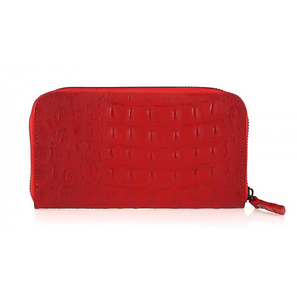 Kožená peňaženka na zips kroko štýl  820 červená