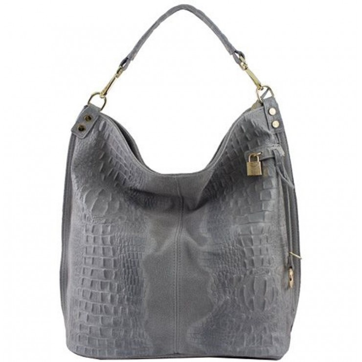 Genuine Leather Handbag Crocodile stamp 1311 dark gray
