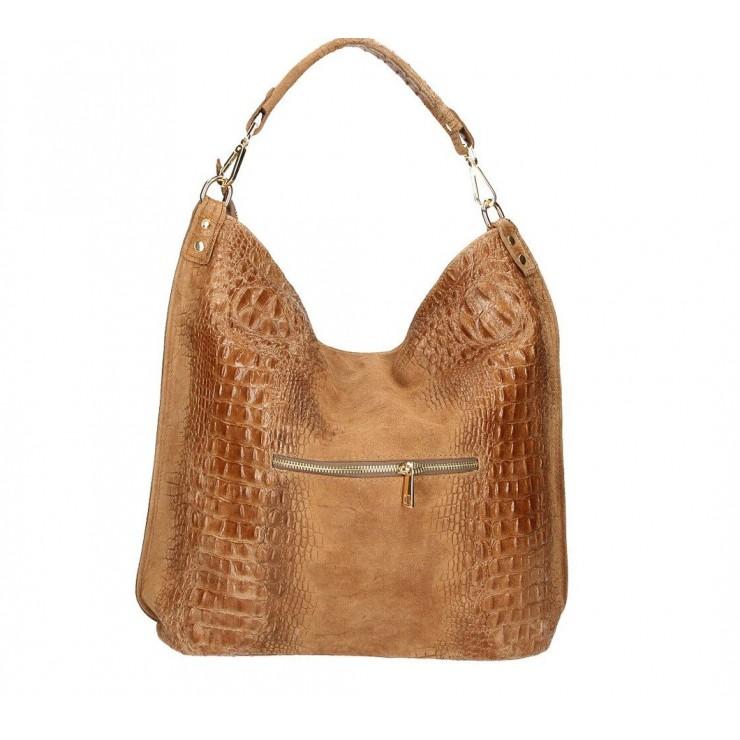 Genuine Leather Handbag Crocodile stamp 1311 cognac