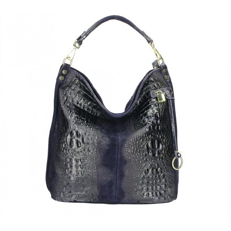 Kožená kabelka potlač krokodýl 1311 modrá
