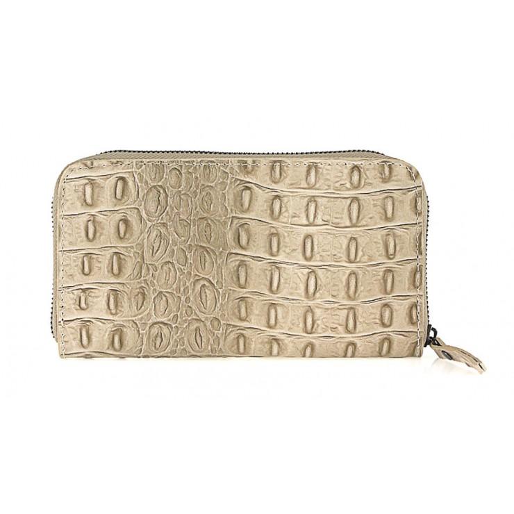 Kožená peňaženka na zips kroko štýl  820 šedohnedá