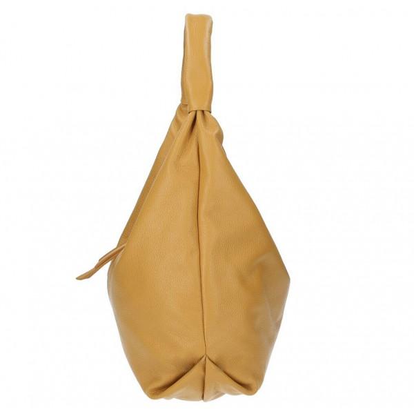 Kožená kabelka na rameno 537 okrová MADE IN ITALY Okrová