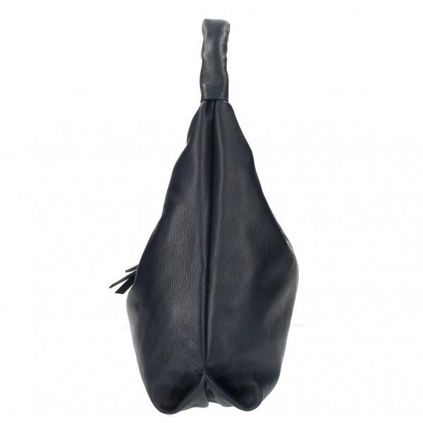 Kožená kabelka na rameno 537 čierna MADE IN ITALY Čierna