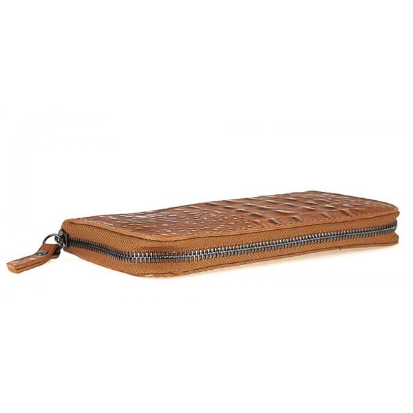 Kožená peňaženka na zips kroko štýl  820 šedohnedá Šedohnedá