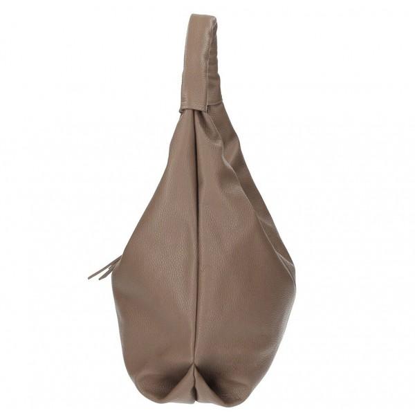 Kožená kabelka na rameno 537 tmavá šedohnedá MADE IN ITALY Šedohnedá