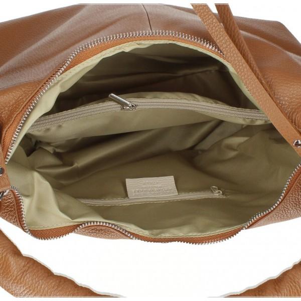 Kožená kabelka na rameno 537 koňaková MADE IN ITALY Koňak