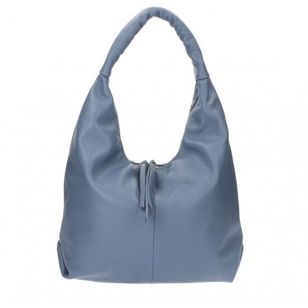 Kožená kabelka na rameno 537 blankytne modrá MADE IN ITALY Blankytna modrá