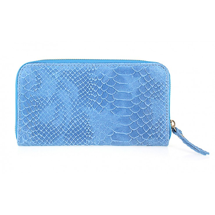 Woman genuine leather wallet 595 light blue