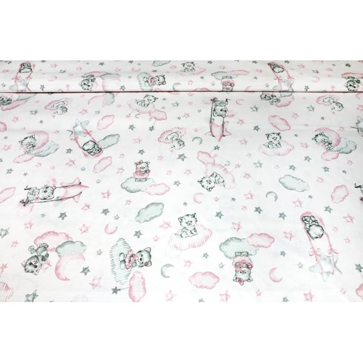Bavlnená látka Mačičky ružová, š. 145 cm