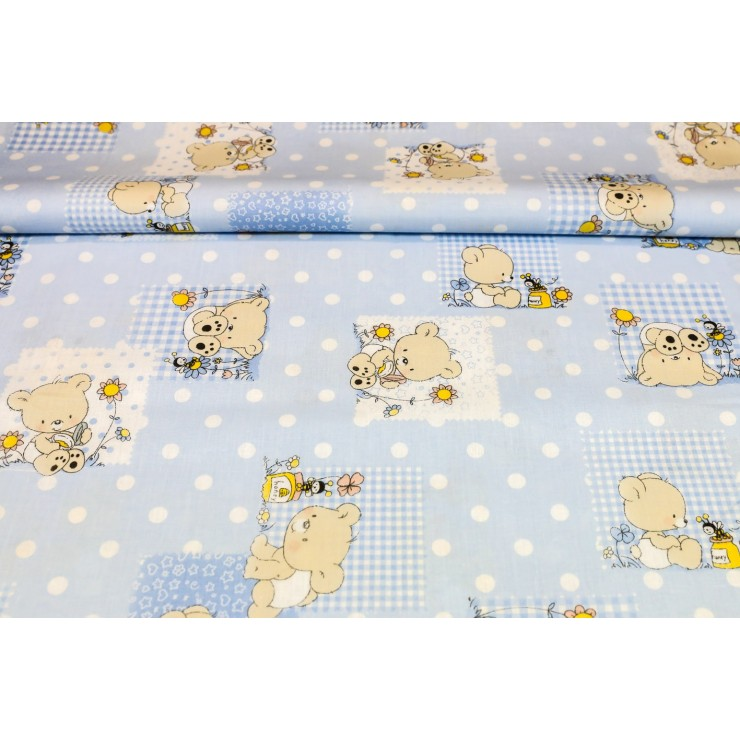 Cotton fabric Teddy bear blue, h. 145 cm