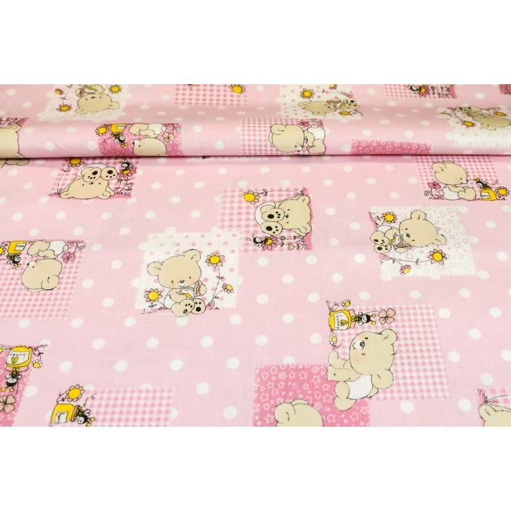 Cotton fabric Teddy bear pink, h. 145 cm