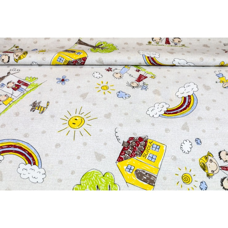 Cotton fabric Family, h. 290 cm