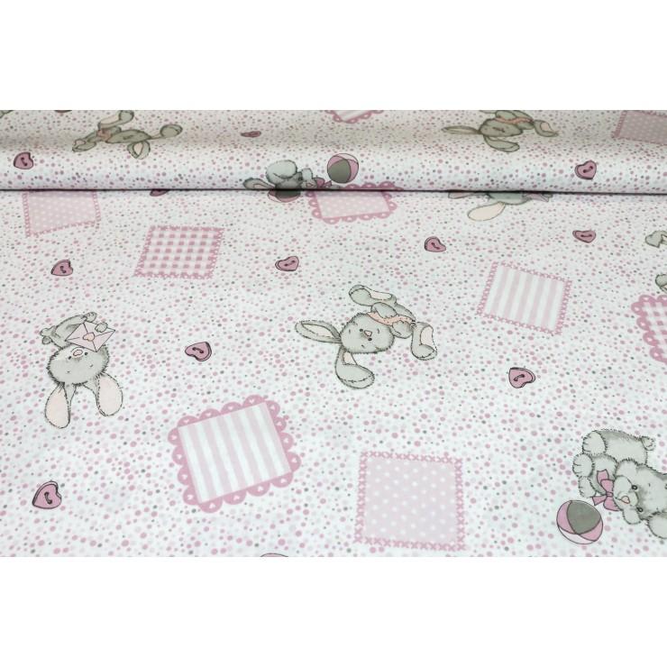 Cotton fabric Bunny pink, h. 145 cm