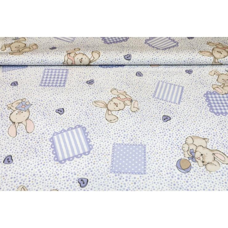 Cotton fabric Bunny blue, h. 145 cm
