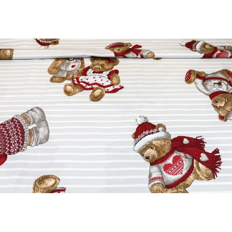 Bavlnená látka Medvedík béžová, š. 145 cm