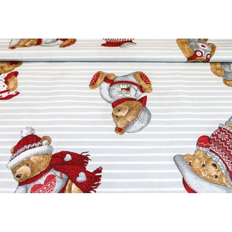 Cotton fabric Teddy bear gray, h. 145 cm