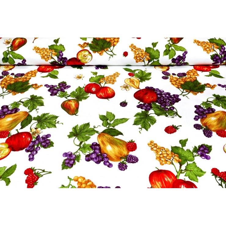 Fabric Cotton panama Fruits, h. 140 cm