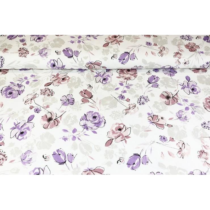 Dekoračná látka Bavlna panama Kvety, šírka 140 cm