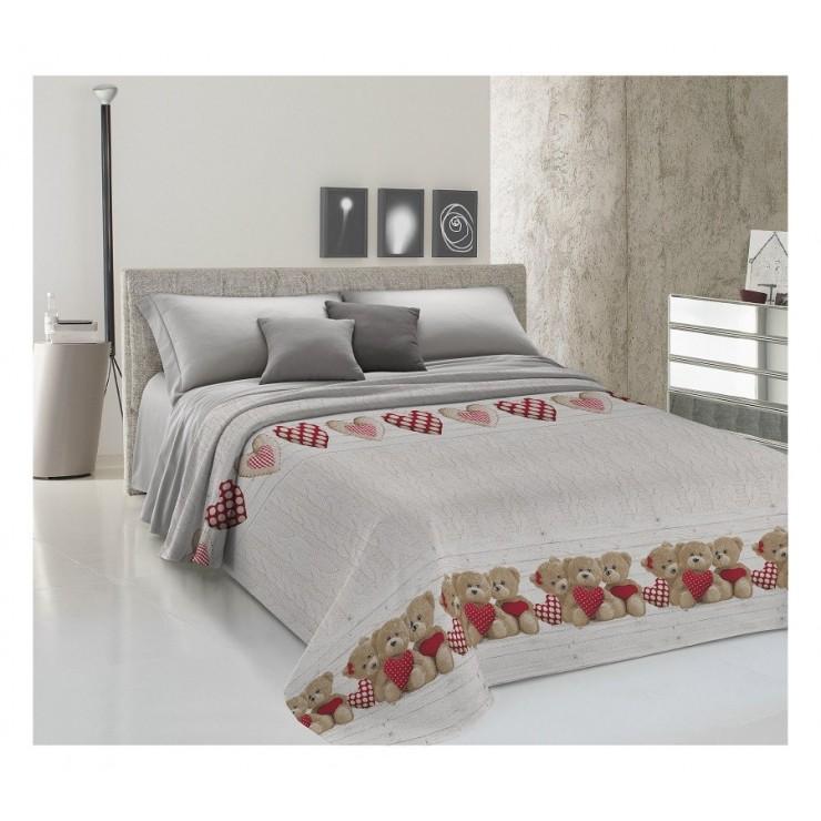 Prikrývka na posteľ Piquet Medvedík červený