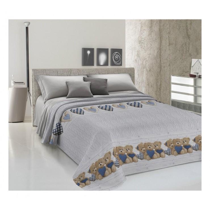 Prikrývka na posteľ Piquet Medvedík modrý