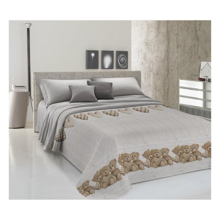 Prikrývka na posteľ Piquet Medvedík béžový