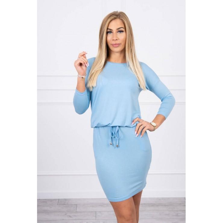 Dámske šaty viazané v páse MI9013 nebesky modré
