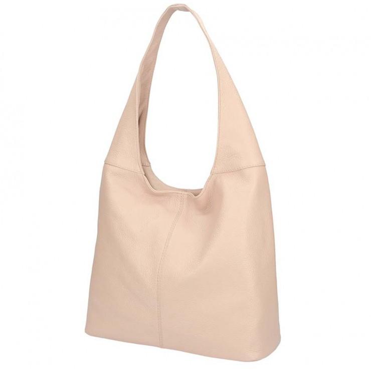 Pudrová ružová kožená kabelka na rameno 590
