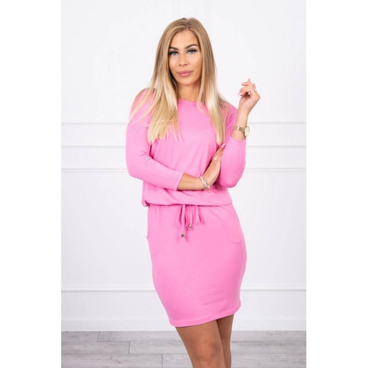 Women's dress tied at the waist MI9013 pink