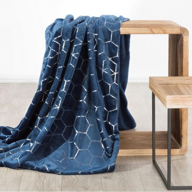 Deka z mikrovlákna Mozaika tmavě modrá