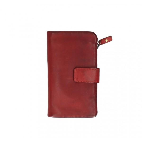 Dámska kožená peňaženka 725 červená Červená