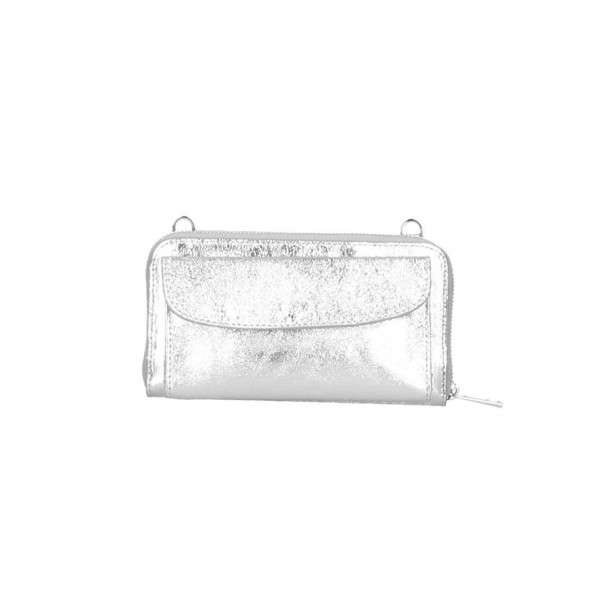 Kožená peňaženka s púzdrom na mobil strieborná Strieborná