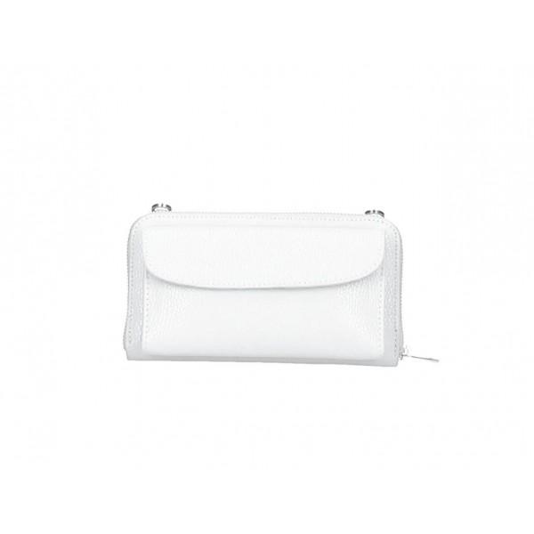Kožená peňaženka s púzdrom na mobil biela Biela