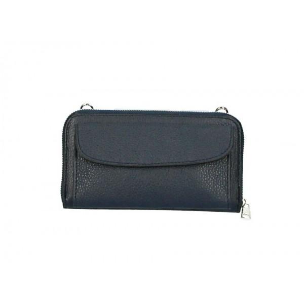 Kožená peňaženka s púzdrom na mobil tmavomodrá Modrá