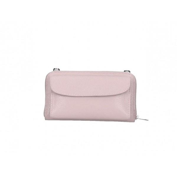 Kožená peňaženka s púzdrom na mobil pudrovo ružová Pudrová ružová