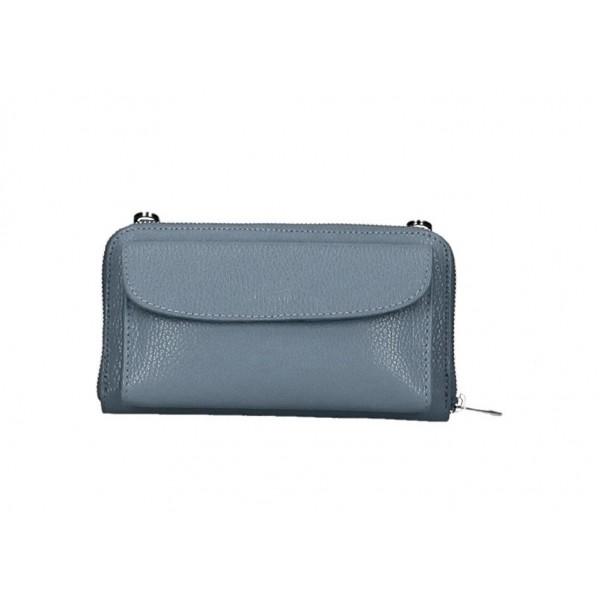 Kožená peňaženka s púzdrom na mobil blankytne modrá Blankytna modrá