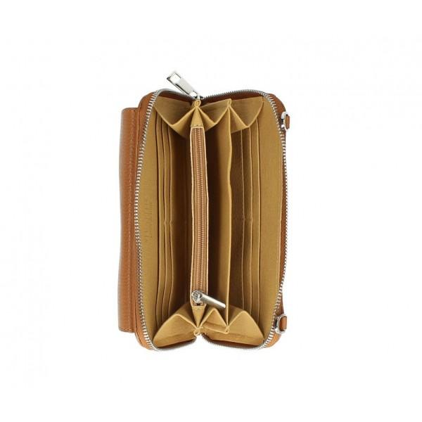Kožená peňaženka s púzdrom na mobil tmavá šedohnedá Šedohnedá
