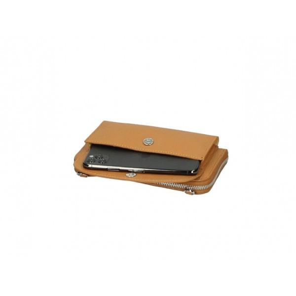 Kožená peňaženka s púzdrom na mobil tmavošedá Šedá