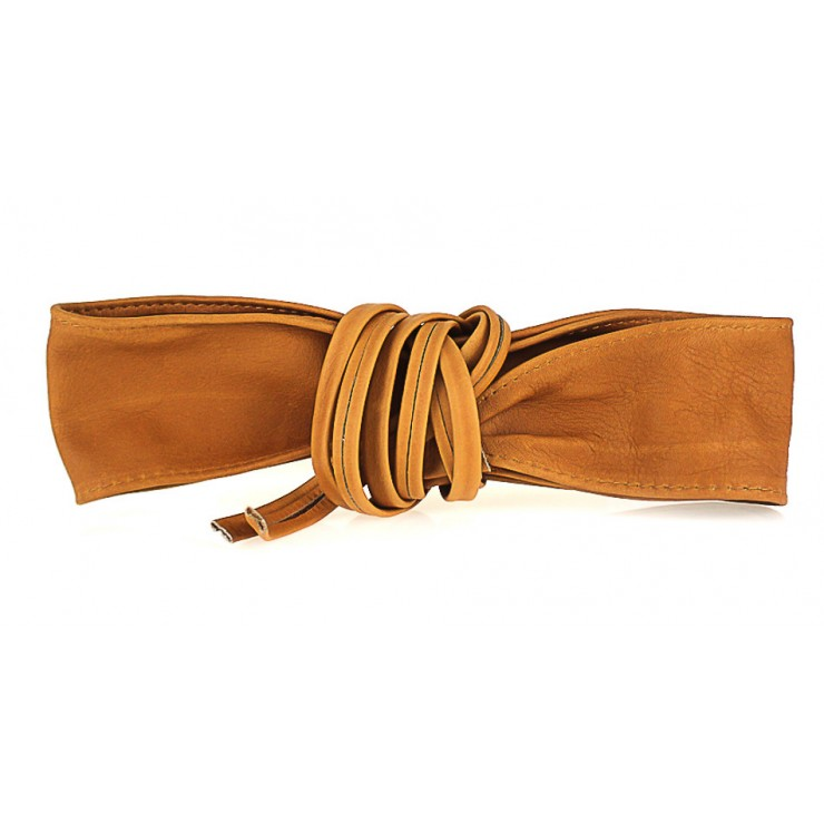 Genuine Leather sash belt 839 cognac