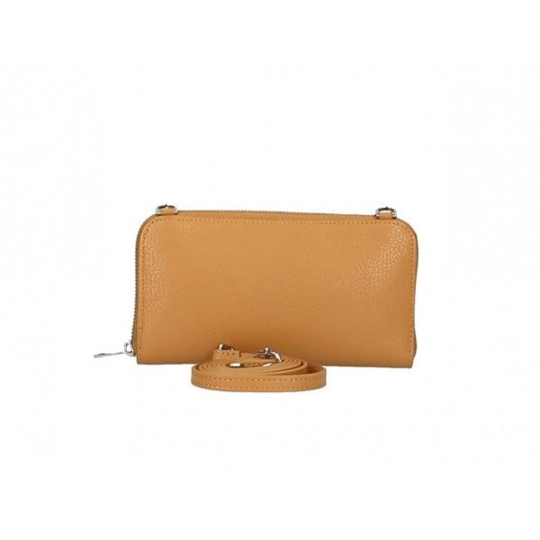 Kožená peňaženka s púzdrom na mobil zlatá Zlatá