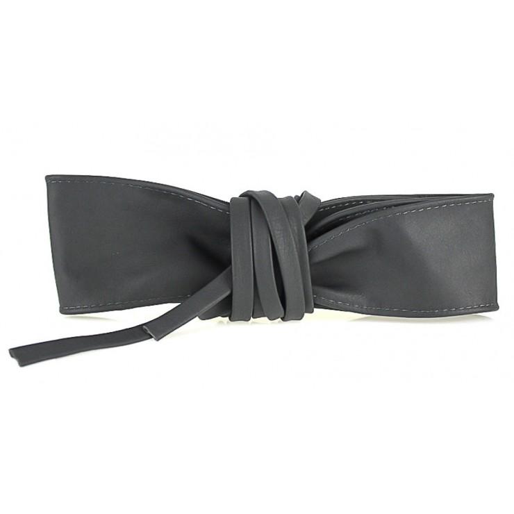 Genuine Leather sash belt 839 dark gray