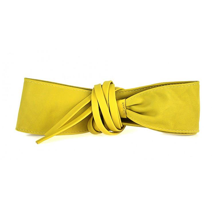 Dámsky kožený opasok na šnúrovanie 839 žltý