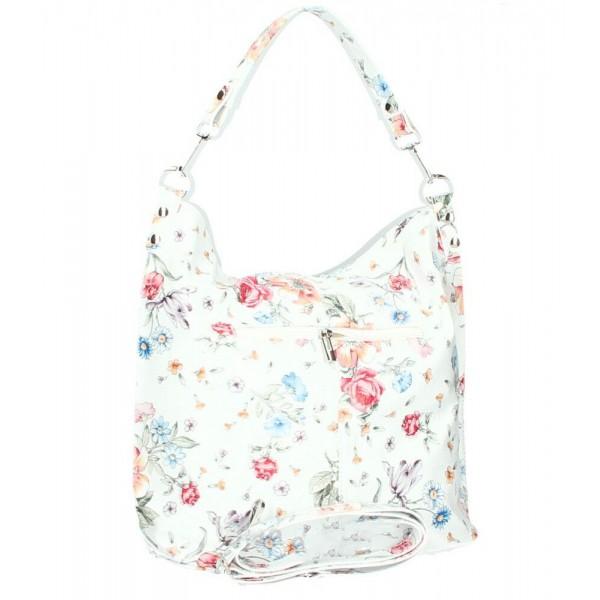 Kožená kabelka na rameno 981 Made in Italy biela s kvetmi Biela