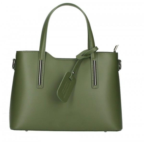 Kožená kabelka do ruky 1364 Made in Italy vojensky zelená Zelená
