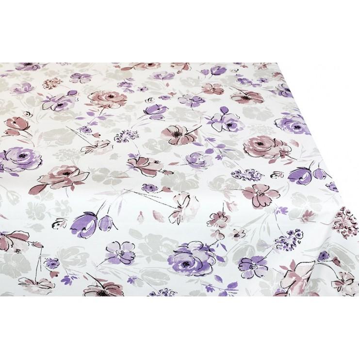 Bavlnený obrus na stôl fialové kvety 90x90 cm Made in Italy