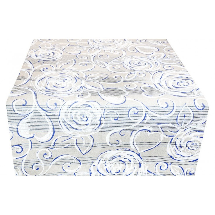 Behúň na stôl modré pivonky 50x150 cm Made in Italy