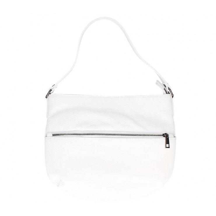 Bílá kožená kabelka na rameno 5311