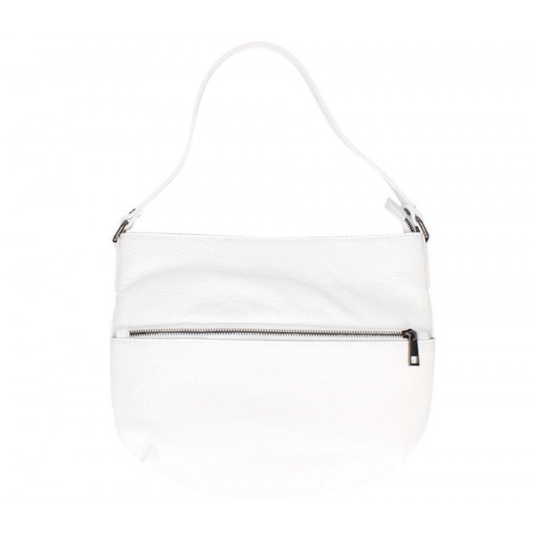 Biela kožená kabelka na rameno 5311