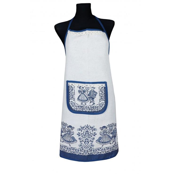 Linen apron A005 blue