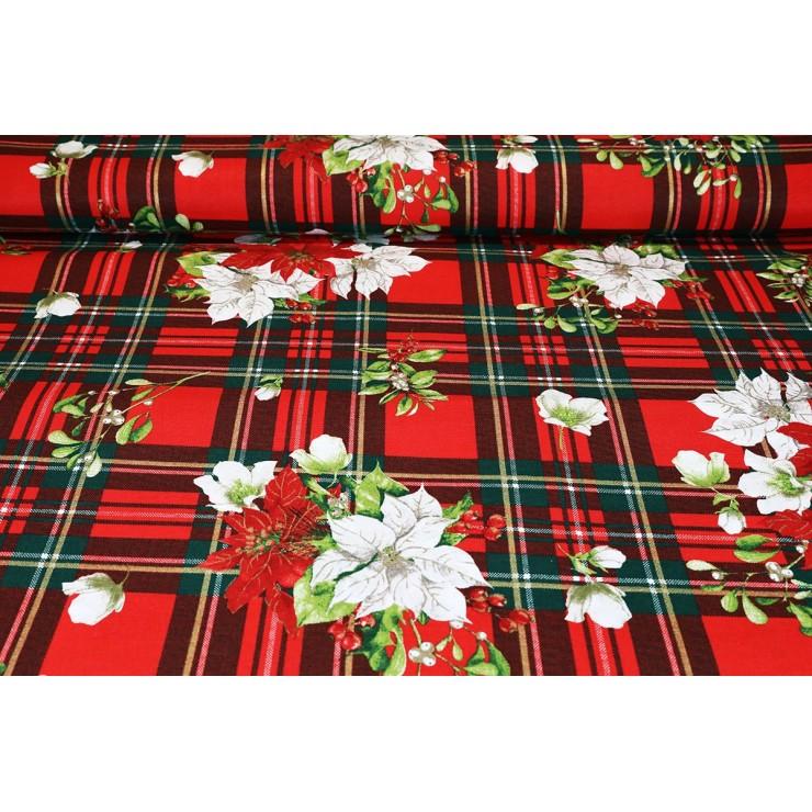 Dekoračná látka bavlna Vianočné ruže, šírka 140 cm