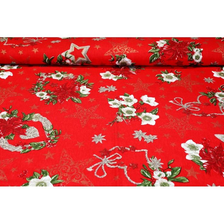 Dekoračná látka bavlna Vianočné ruže červená, šírka 140 cm